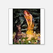 "Fairies & Red Doberman Square Sticker 3"" x 3"""