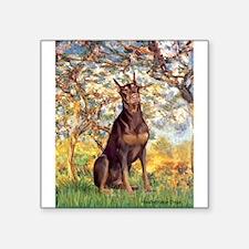 """Spring / Doberman Square Sticker 3"""" x 3"""""""