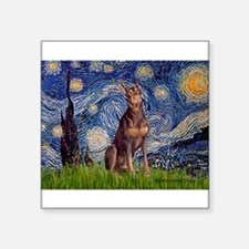 "Starry / Red Doberman Square Sticker 3"" x 3"""