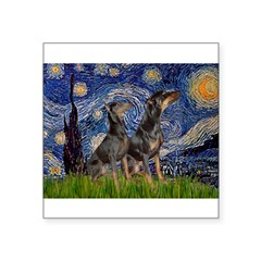 Starry Night / 2 Dobies Square Sticker 3