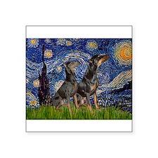"Starry Night / 2 Dobies Square Sticker 3"" x 3"""