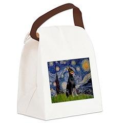 Starry Night Doberman Canvas Lunch Bag