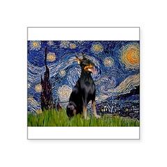 "Starry Night Doberman Square Sticker 3"" x 3"""