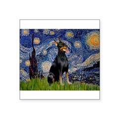 Starry Night Doberman Square Sticker 3