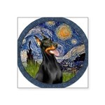 Starry Night Doberman (#1) Square Sticker 3