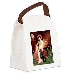 Seated Angel & Dobie Canvas Lunch Bag