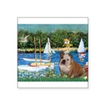 Sailboats /English Bulldog Square Sticker 3