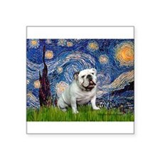 "Starry Night English Bulldog Square Sticker 3"" x 3"