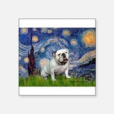 "Starry Night English Bulldog Square Sticker 3"" x 3"