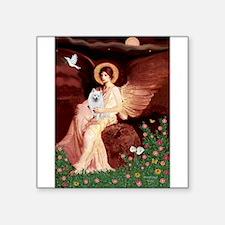 "Angel / Eskimo Spitz #1 Square Sticker 3"" x 3"""