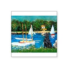 "Sailboats / Flat Coated Retri Square Sticker 3"" x"
