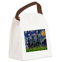 Starry / Two Flat Coated Ret Canvas Lunch Bag