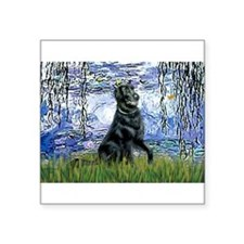 "Lilies / Flat Coated Retrieve Square Sticker 3"" x"