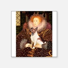 "Queen/Fox Terrier (#S4) Square Sticker 3"" x 3"""