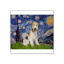 "Starry / Fox Terrier (W) Square Sticker 3"" x 3"""