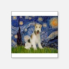 "Starry / Fox Terrier (W) Square Sticker 3"" x 3"""