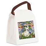 Lilies / Fr Bulldog (f) Canvas Lunch Bag