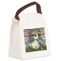 Lilies / Fr Bulldog (f) Canvas Lunch Bag