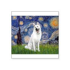 Starry-White German Shepherd Square Sticker 3
