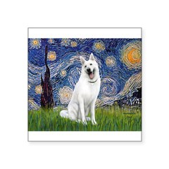 Starry-White German Shepherd Square Sticker 3