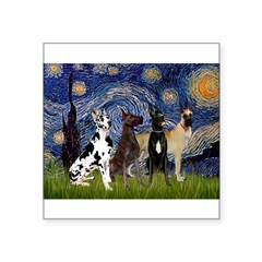 "Starry / 4 Great Danes Square Sticker 3"" x 3"""