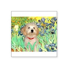 "Irises / Havanese Square Sticker 3"" x 3"""
