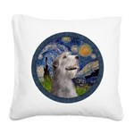 Starry Irish Wolfhound Square Canvas Pillow