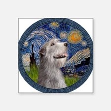 "Starry Irish Wolfhound Square Sticker 3"" x 3"""