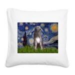 Starry/Irish Wolfhound Square Canvas Pillow