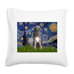 Starry/Irish Wolfhound Square Canvas Pillow