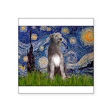 "Starry/Irish Wolfhound Square Sticker 3"" x 3"""