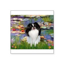 """Lilies (#2)/Japanese Chin Square Sticker 3"""" x 3"""""""