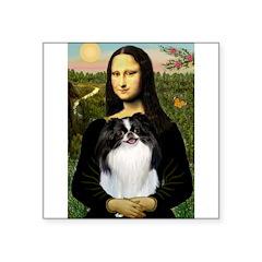 "Mona Lisa/Japanese Chin Square Sticker 3"" x 3"""