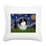 Starry/Japanese Chin Square Canvas Pillow
