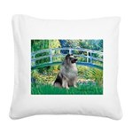 Bridge / Keeshond Square Canvas Pillow