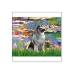 Lilies / Keeshond Square Sticker 3