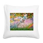 Garden / Lhasa Apso Square Canvas Pillow
