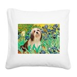 Irises / Lhasa Apso #4 Square Canvas Pillow