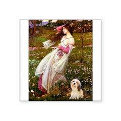 Windflowers / Lhasa Apso #4 Square Sticker 3