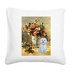 Vase / Maltese (B) Square Canvas Pillow