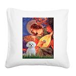 Mandolin Angel & Maltese Square Canvas Pillow