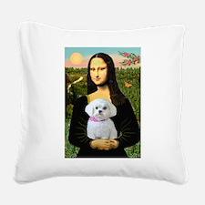 Mona's Maltese (R) Square Canvas Pillow