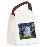Starry Night / Maltese Canvas Lunch Bag