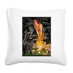Fairies & Newfoundland Square Canvas Pillow