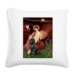 Angel & Newfoundland Square Canvas Pillow