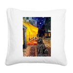Cafe & Newfoundland Square Canvas Pillow