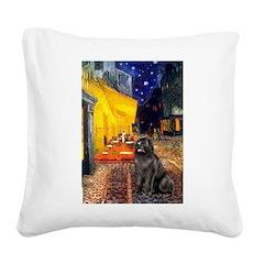 Cafe & Newfoundland Square Canvas Pillow