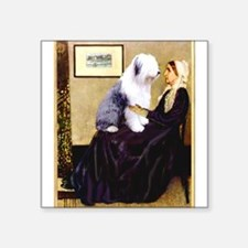 "Mom's Old English Sheepdog Square Sticker 3"" x 3"""