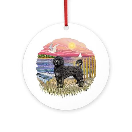 Pink Sunset- Black Portie (PWD) Ornament (Round)