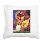 Mandolin Angel & Papillon Square Canvas Pillow